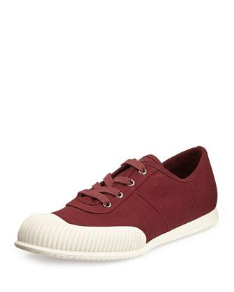 Runway Rubber-Toe Low-Top Sneaker, Burgundy