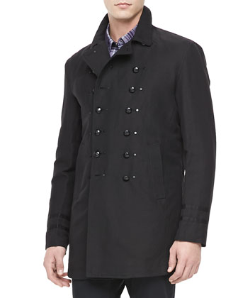Luxe Cotton-Linen Pea Coat, Black