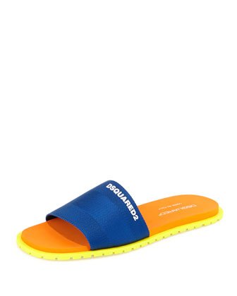 Nylon Slide Sandal, Blue/Orange