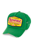 Logo Canvas Baseball Hat, Green