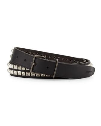Pyramid-Stud Leather Belt, Black