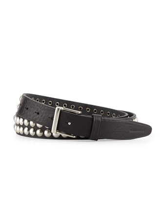 Studded Leather Belt, Black