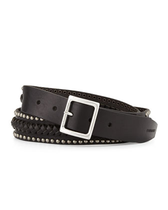 Stud-Trimmed Braided Leather Belt, Black
