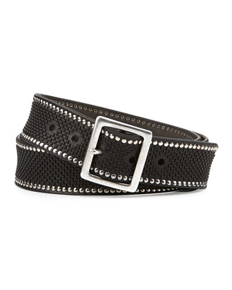 Men's Multi-Studded Leather Belt, Black