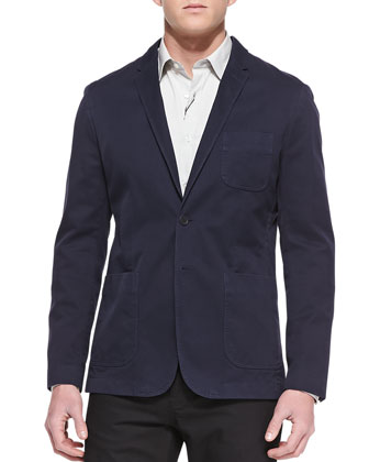 Cotton Two-Button Blazer, Navy