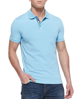 Check-Detail Short-Sleeve Polo, Light Blue