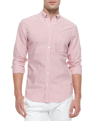 Long-Sleeve Small Check Shirt, Pink/White