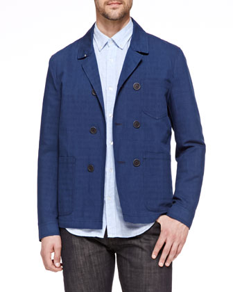 Linen-Blend Work Jacket, Blue