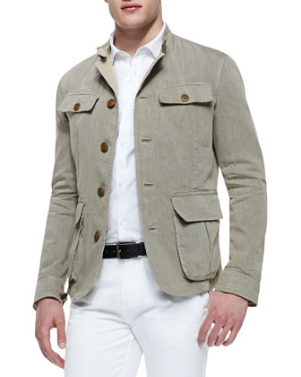 Linen-Blend Long-Sleeve Jacket