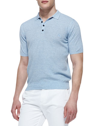 Knit Short-Sleeve Polo Shirt, Light Blue