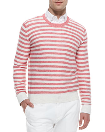 Striped Crewneck Sweater, Pink/White