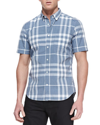 Check Short-Sleeve Shirt, Navy