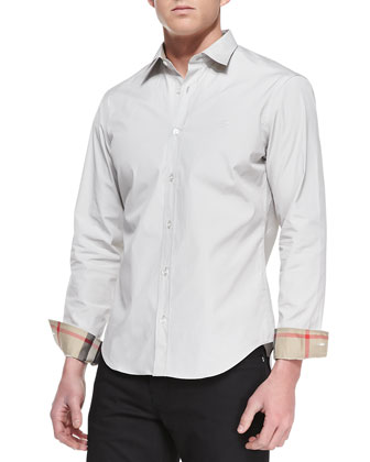 Slim-Fit Stretch-Cotton Dress Shirt, Pale Gray