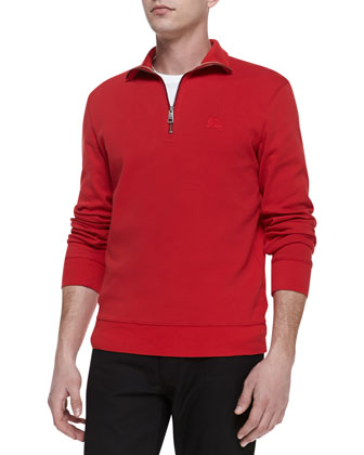 Half-Zip Jersey Pullover, Red