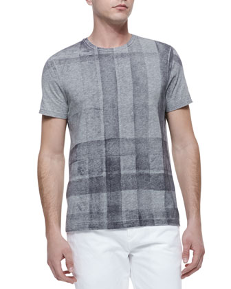 Check-Print Short-Sleeve Tee, Gray