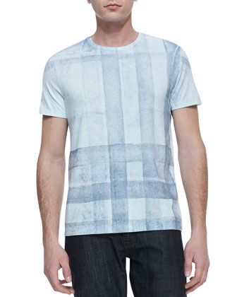 Check-Print Short-Sleeve Tee, Light Blue