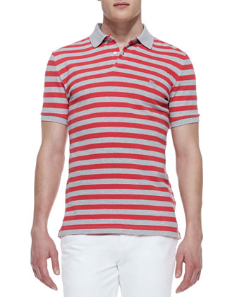 Striped-Jersey Short-Sleeve Polo Shirt, Gray/Pomegranate