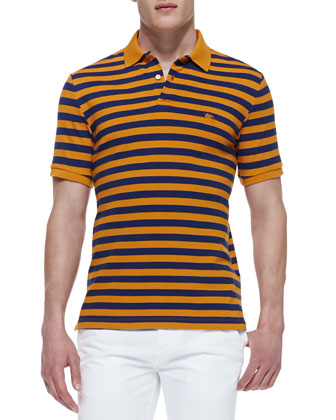 Striped-Jersey Short-Sleeve Polo Shirt, Ginger/Blue