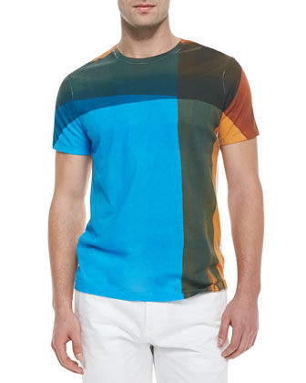 Crewneck Graphic Check Front T-Shirt, Multicolor