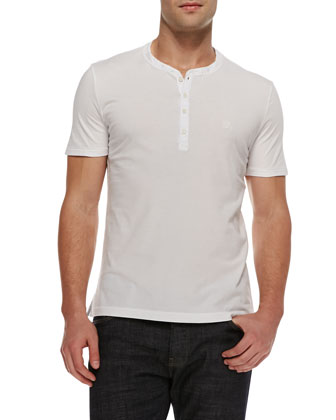 Short-Sleeve Henley Shirt, White