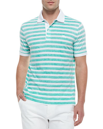 Reverse-Print Striped Polo Shirt, Green/White