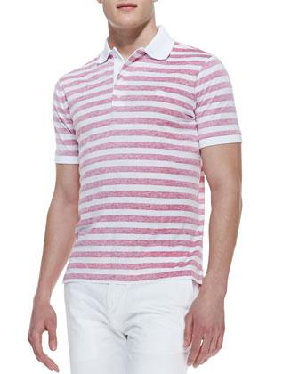 Reverse-Print Stripe Polo Shirt, Crimson Pink