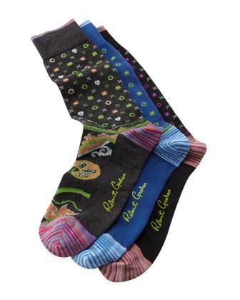Moonlit Paisley Socks, 3-Pack
