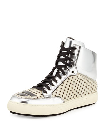 Metallic Leather & Calf Hair High-Top Sneaker, White/Silver
