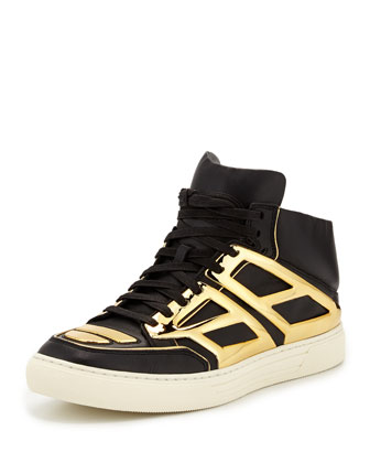 Leather & Metallic Plate High-Top Sneaker, Black/Gold