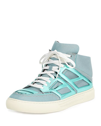 Iridescent Metallic-Plate High-Top, Teal