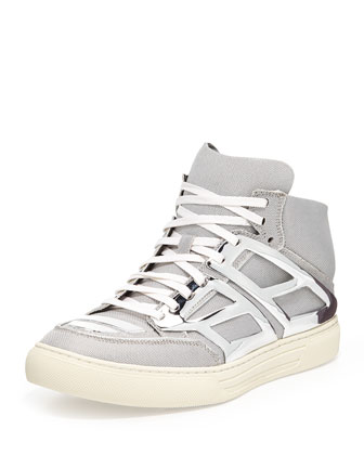 Iridescent Metallic-Plate High-Top