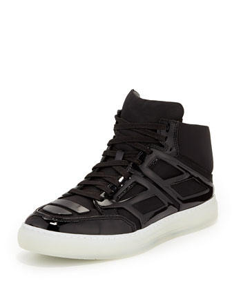 Nylon & Plate High-Top Sneaker, Black