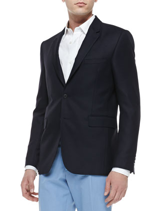 Two-Button Wool/Mohair Blazer, Navy