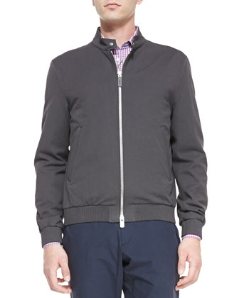 Lightweight Cotton Blouson Jacket, Dark Gray