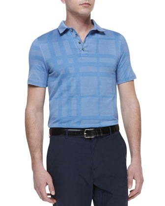 Tonal-Check Polo Shirt, Blue