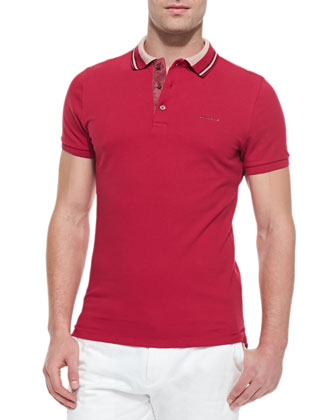 Short-Sleeve Polo Shirt, Crimson/Pink
