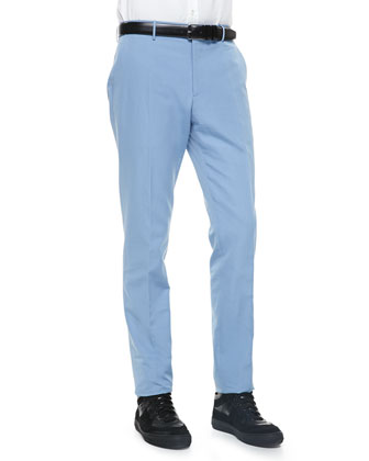 Cotton-Linen Blend Trousers, Light Blue