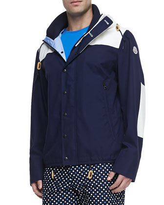 Leo Hooded Toggle Jacket, Navy