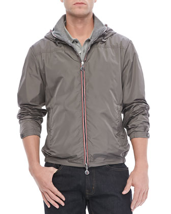 Urville Jersey-Lined Nylon Hoodie, Gray