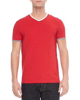 Tipped V-Neck Tee, Red