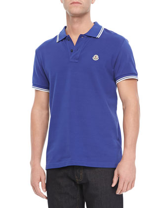 Pique Tipped Polo, Blue