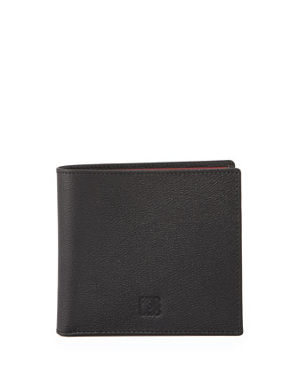 Textured Bicolor Leather Wallet, Black