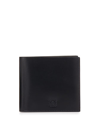 Bicolor Leather Wallet, Navy/Blue