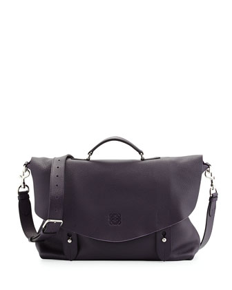 Men's Lorca Leather Satchel Briefcase, Plum