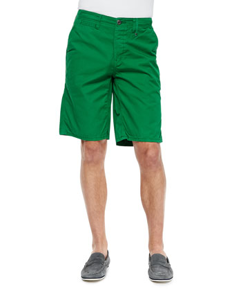 Hampton Cotton-Twill Shorts, Kelly Green