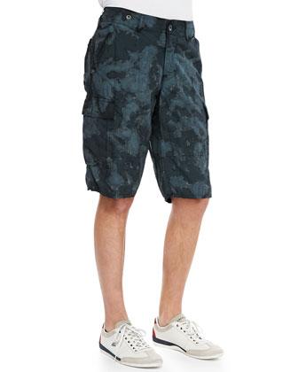 Havasu Camo-Print Cargo Shorts, Black/Gray