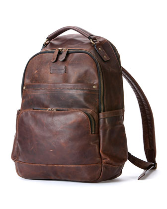 Logan Men's Leather Backpack, Dark Brown