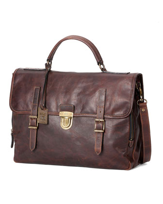 Logan Buckled Briefcase, Dark Brown