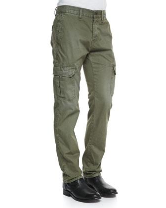 Radar Distressed Cargo Pants, Army Green