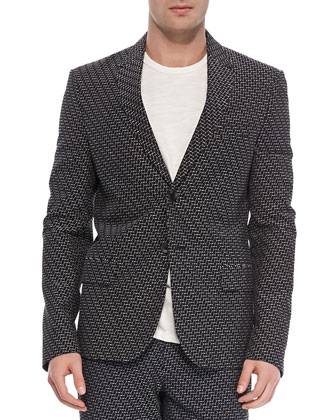 Print Two-Button Jacket, Navy/White